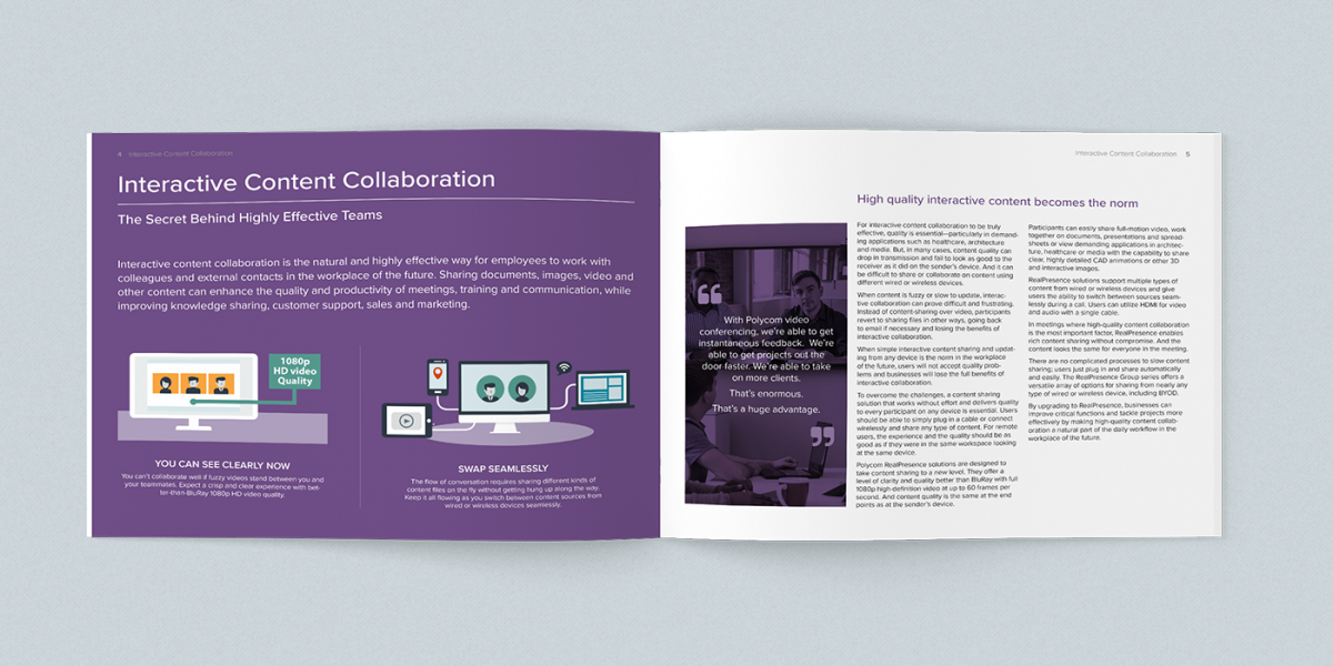 2-page spread of Polycom print publication I designed